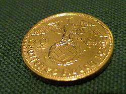 Gold Plated German Third Reich 2 Reichsmark coin with swastika