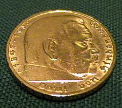 Gold plated 5 Reichsmark Hindenburg coin