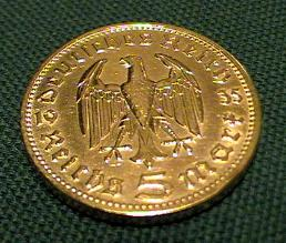Gold Plated German Third Reich Hendenburg Reichsmark coin with swastika
