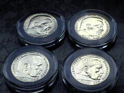 Gold Plated German Third Reich 2 Reichsmark silver coins