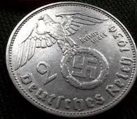 Nazi Silver 2 Reichsmark 1936 coin with swastika