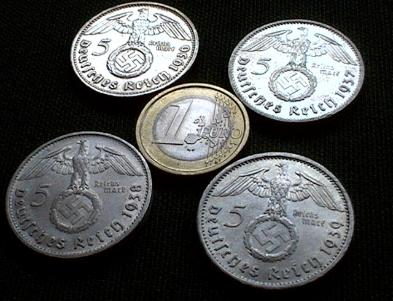 Nazi Silver 5 Reichsmark 4 year set with swastika