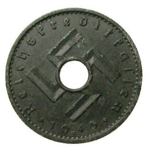 Third Reich Nazi Reichskreditkassen coin with hole and swastika