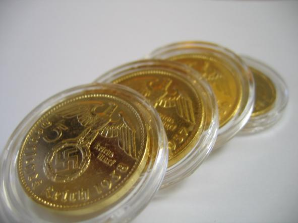 Nazi Coins In Gold Plate