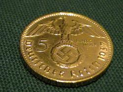 Gold Plated German Third Reich 5 Reichsmark coin with swastika