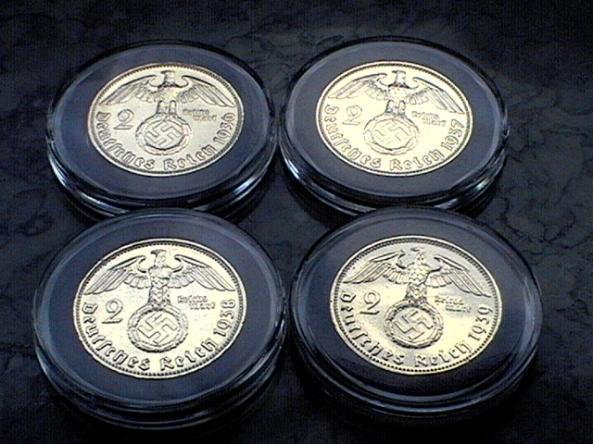 Gold plated Third Reich 2 Reichsmark coins with swastika