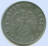 Third Reich 10 reichspfennig coin with swastika