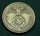 German Thrid Reich 10 Reichspfennig bronze coin with swastika