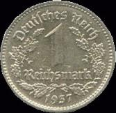 Nazi Nickel 1 Reichsmark coin