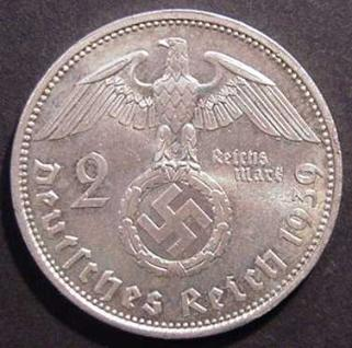 Third Reich 2 Reichsmark silver coin with swastika