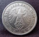 German Third Reich 50 Reichspfennig Nickel coin with swastika