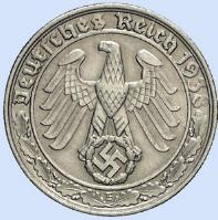 Third Reich 50 reichspfennig nickel coin with swastika