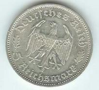 Third Reich 5 Reichsmark Schiller coin in silver with swastika