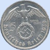 Third Reich 5 Reichsmark silver coin with swastka
