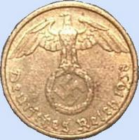 Third Reich 5 Reichspfennig bronze coin with swastika